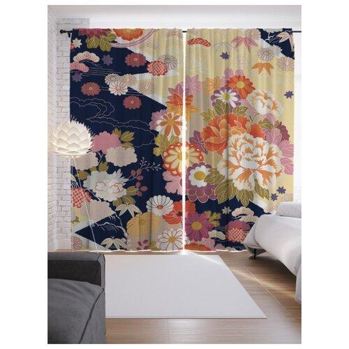 Портьеры JoyArty Цветы на ленте 265 см (p-53329)