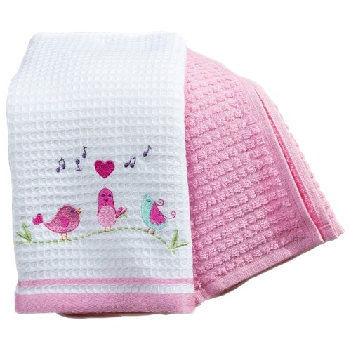 Arya Набор полотенец Bahar B Птицы кухонное 40х60 см экрю, розовый полотенца arya комплект из 6 ти полотенец arya birdy 30 30 см бело розовый