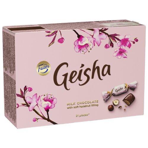 Набор конфет Fazer Geisha из молочного шоколада с нежной начинкой из орехового пралине из фундука 150 г розовый karl fazer молочный шоколад вкус мяты и драже из молочного шоколада 130 г
