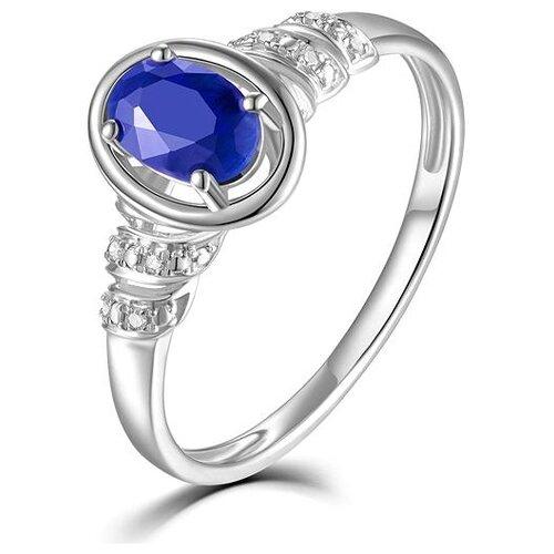 ЛУКАС Кольцо с сапфиром и бриллиантами из белого золота R01-D-68997R001-R17, размер 17.5 кольцо из золота r01 d 68997r001 r