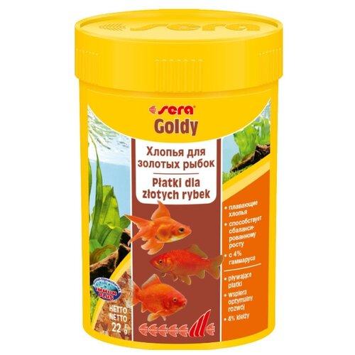 Сухой корм для рыб Sera Goldy для золотых рыб в хлопьях 100 мл корм сухой prodac algae wafer mini для аквариумных пресноводных рыб в таблетках 135 г