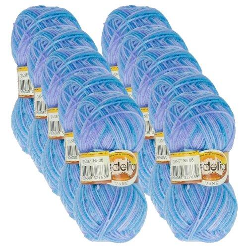 Купить Пряжа Adelia Jane, 100 % акрил, 50 г, 227 м, 10 шт., 08 т.голубой-голубой