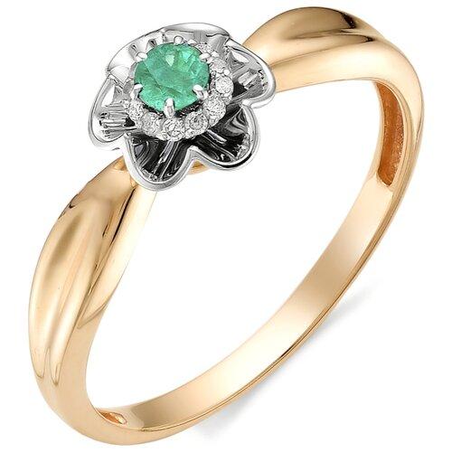 АЛЬКОР Кольцо Цветок с изумрудом, бриллиантами из красного золота 11980-101, размер 16.5 фото