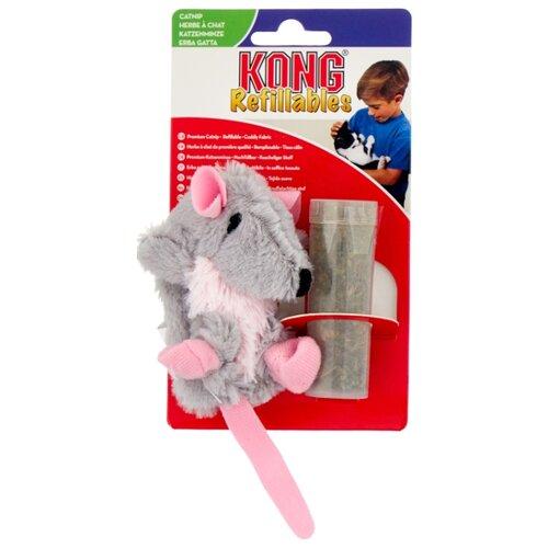 Набор игрушек для кошек KONG Крыса с тубом кошачьей мяты (NR45) серый/розовый фото