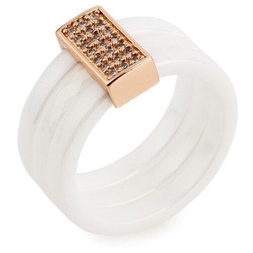 Фото - Kuro Hana Кольцо керамическое широкое (белый/золотистый), размер 19 kuro hana комплект кольцо и серьги из керамики 1007 1015 1023 1031 размер кольца 19