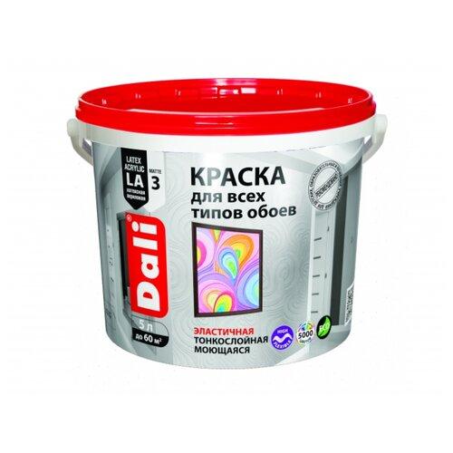 Краска акриловая DALI Для обоев влагостойкая моющаяся матовая 5 л 1 (A/BW)
