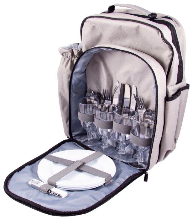 Набор для пикника на 4 персоны в рюкзаке: 4 тарелки, 4 бокала, 4 набора столовых приборов, штопор, чехол для бутылки 36*21*42см 130020