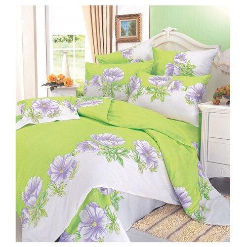 Постельное белье 2-спальное СайлиД A-32, поплин белый/зеленый постельное белье сайлид а97 1 двуспальное