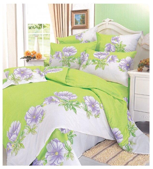 Постельное белье 2-спальное СайлиД A-32, поплин белый/зеленый