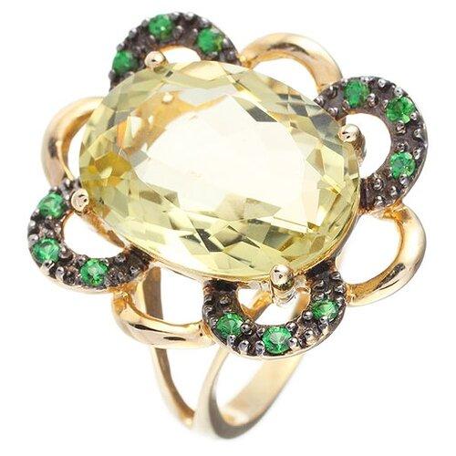 цена на JV Кольцо с цаворитами, кварцем из желтого золота R30907K-19-LQ-TV-YG, размер 17.5