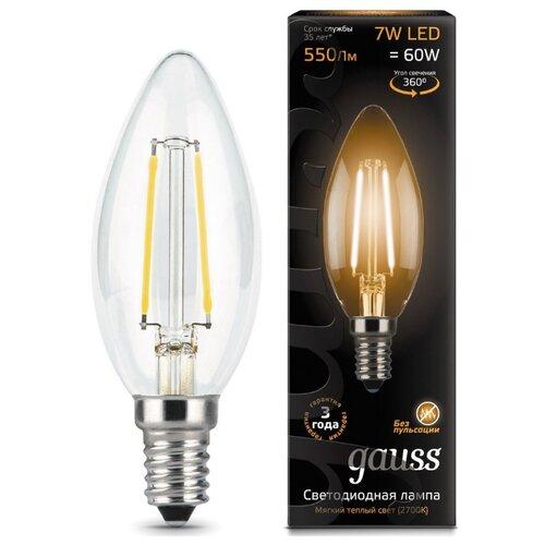 Лампа светодиодная gauss 103801107, E14, C35, 7Вт лампа светодиодная gauss 103101207 d e14 c38 7вт