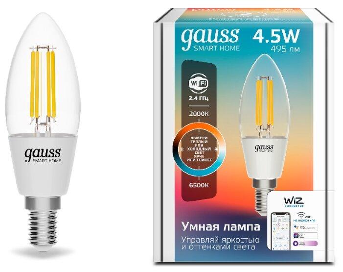 Лампа светодиодная gauss 1250112, E14, C35, 4.5Вт фото 1