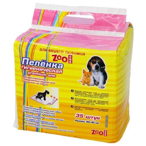 Пеленки для собак впитывающие ZooOne Premium One 60х40 см 35 шт. пеленки для щенков многоразовые впитывающие zooone 6040m 60х40 см бордовый