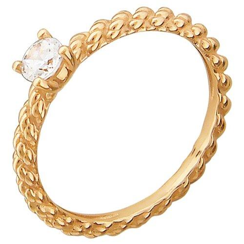 Эстет Кольцо с 1 фианитом из красного золота 01К119306, размер 18.5 ЭСТЕТ