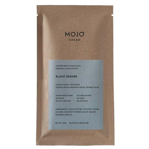 Шоколад Mojo Cacao Black Sesame белый с обжаренным черным кунжутом, 80 г