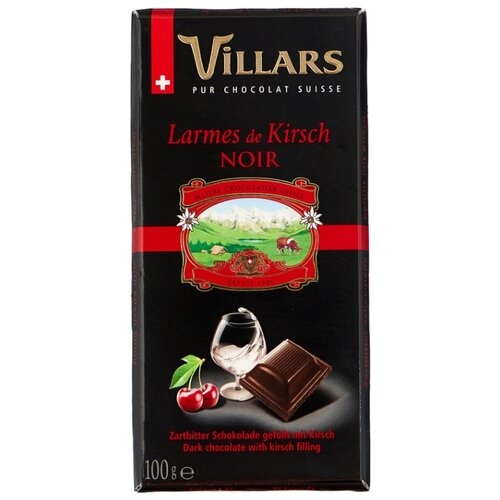 шоколад villars 72% горький 100 г Шоколад Villars Larmes de Kirsch тёмный с вишнёвым бренди, 100 г