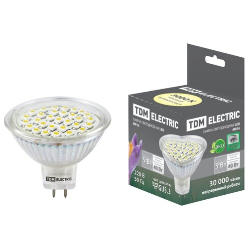 Лампа светодиодная TDM ЕLECTRIC GU5.3, MR16, 5Вт лампа энергосберегающая tdm sq0323 0054