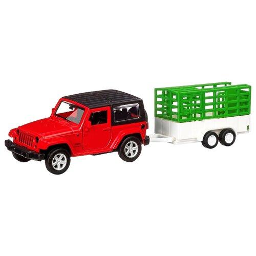 Купить Внедорожник Автопанорама Jeep Wrangler c прицепом (JB1251415) 1:43 красный/белый/зеленый, Машинки и техника