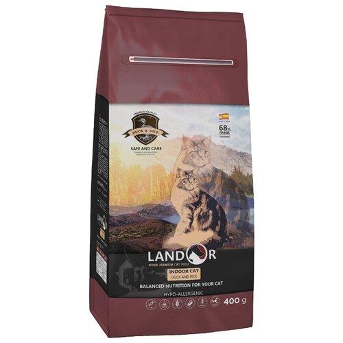 Корм для кошек Landor для живущих в помещении, с уткой, с тунцом 400 г корм для кошек landor тунец