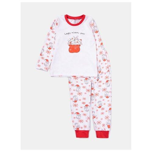 Купить Пижама KotMarKot размер 116, белый/красный, Домашняя одежда