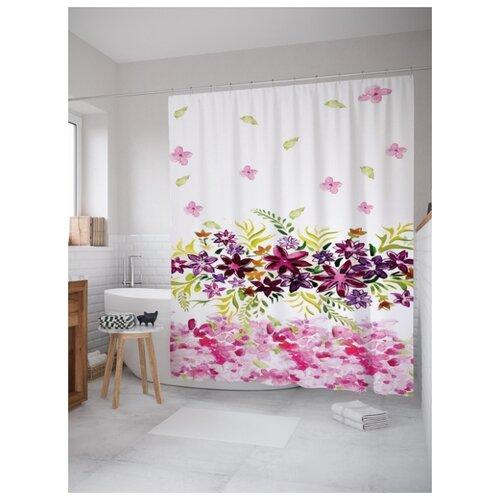 Штора для ванной JoyArty Бордовые цветы 180х200 (sc-2301)