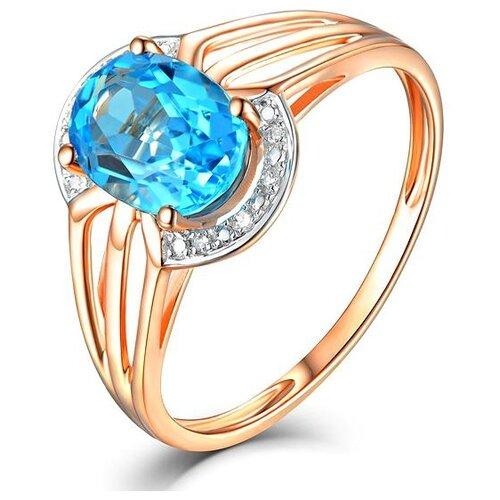 ЛУКАС Кольцо с топазом и бриллиантами из красного золота R01-D-69014R001-R17, размер 18 бронницкий ювелир брошь из красного золота h01 d hru1105aru r17