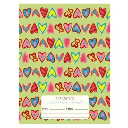 Unnika land Дневник школьный для 1-4 классов Сердечки зеленый calligrata дневник школьный карбон для 5 11 классов