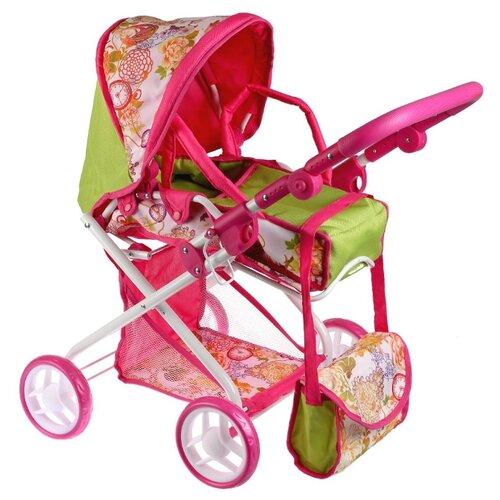 Купить Коляска-люлька Карапуз 63HJ-20 розовый/салатовый/белый, Коляски для кукол