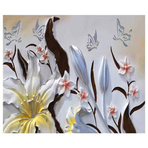 Фотообои флизелиновые Design Studio 3D Объемные цветы с бабочками 3х2.5м разноцветный