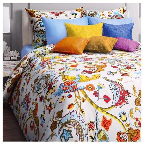 цена Постельное белье 2-спальное Mona Liza Baileys 70х70 см, бязь белый/голубой онлайн в 2017 году