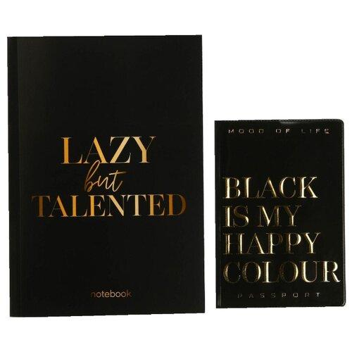 ArtFox Подарочный набор: обложка для паспорта и ежедневник Black is my happy color