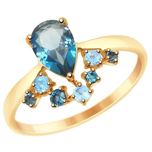 SOKOLOV Кольцо из золота с голубыми и синими топазами 715028, размер 17.5 по цене 16 590