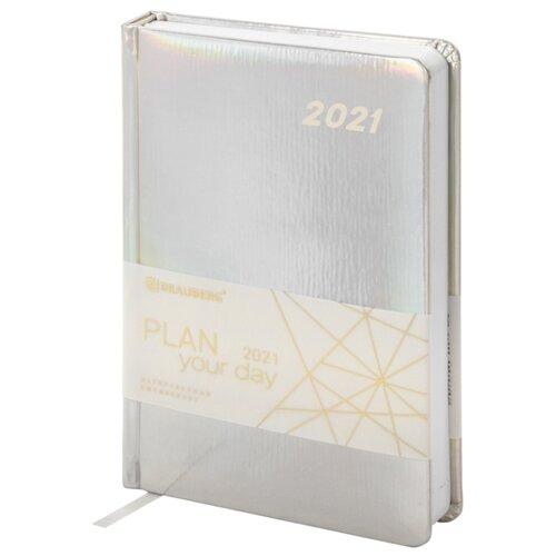 Купить Ежедневник BRAUBERG Holiday датированный на 2021 год, искусственная кожа, А5, 168 листов, серебристый, Ежедневники, записные книжки