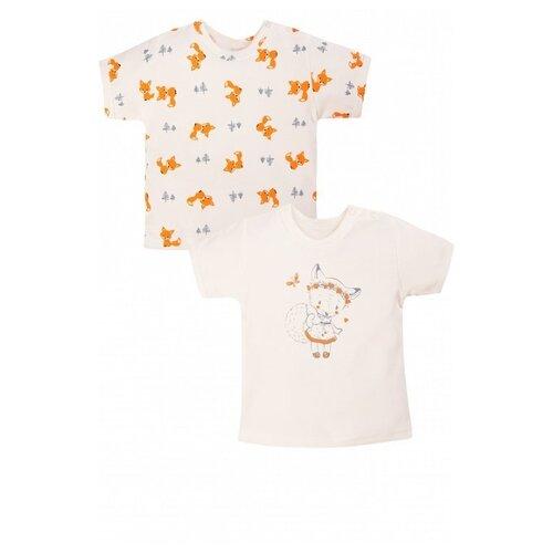 Купить Футболка Веселый Малыш размер 74, молочный/оранжевый, Футболки и рубашки