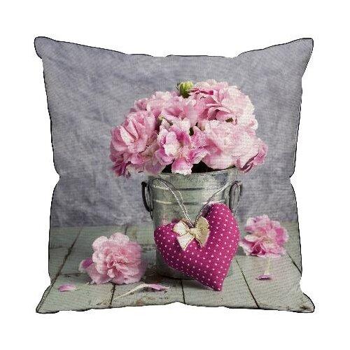 Подушка декоративная Традиция Пионы, 40 х 40 см серый/розовый подушка декоративная led со светодиодами 40 х 40 см 175061