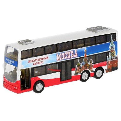 Фото - Автобус ТЕХНОПАРК двухэтажный экскурсионный Москва (CT10-054-2) 16 см красный/синий машины технопарк автобус инерционный со светом и звуком 18 5 см ct10 025 2