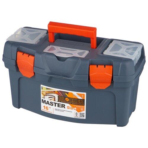 Ящик с органайзером BLOCKER Master BR6004 40.8x21.8x22.3 см 16'' серо-свинцовый/оранжевый ящик с органайзером blocker master br6006 61x32x30 см 24 серо свинцовый оранжевый