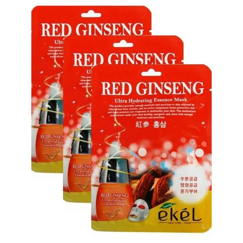Ekel Red Ginseng Ultra Hydrating Essence Mask Тканевая маска Красный Женьшень, 25 мл, 3 шт.