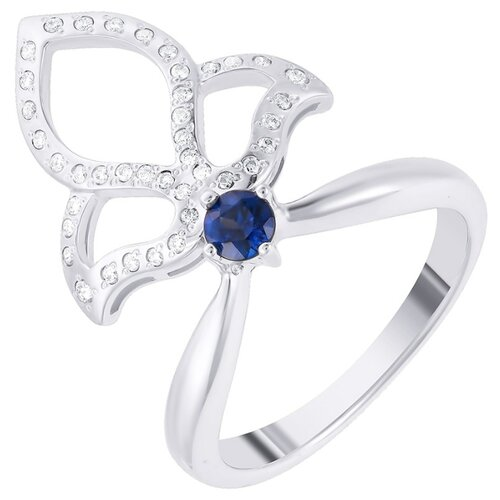 JV Золотое кольцо с сапфиром, бриллиантами R0038-WGDWSA-KO-SA-WG, размер 17