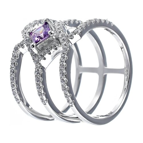 JV Кольцо с фианитами из серебра SL20099E1-001-WG, размер 17 jv кольцо с фианитами из серебра r25858 001 wg размер 17