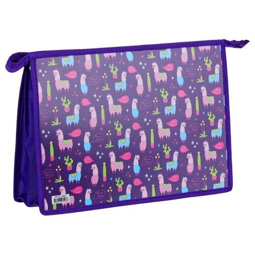 ArtSpace Папка для тетрадей Lama on purple А4, на молнии, пластик фиолетовый недорого