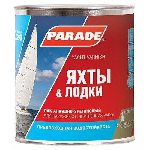 Фото - Лак яхтный Parade L20 Яхты & Лодки полуматовый алкидно-уретановый бесцветный 0.75 л лак алкидно уретановый parade яхтный 2 5л глянцевый арт l20г2 5