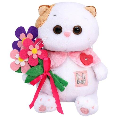 Купить Мягкая игрушка Basik&Co Кошка Ли-Ли baby с цветами из фетра 20 см, Мягкие игрушки