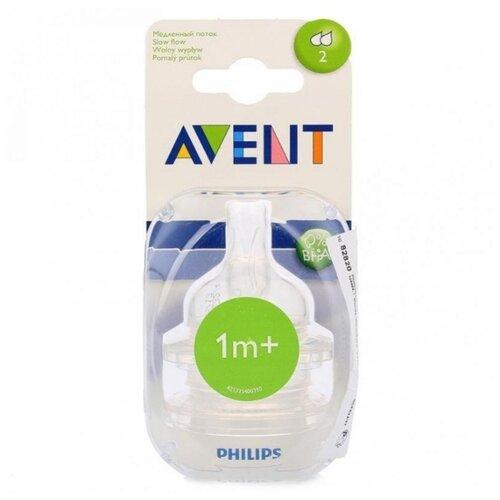 Соска Philips AVENT Classic+ силиконовая 1м+ 2шт. SCF632/27 бесцветный авент соска силиконовая natural для новорожденных 2шт арт 80510 scf651 27