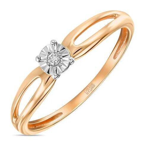 ЛУКАС Кольцо с 1 бриллиантом из красного золота R01-D-L-PL-34969, размер 18 кольцо из золота r01 d r306443sap