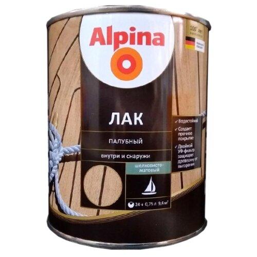Лак яхтный Alpina палубный шелковисто-матовый алкидно-уретановый прозрачный 0.75 л Alpina   фото