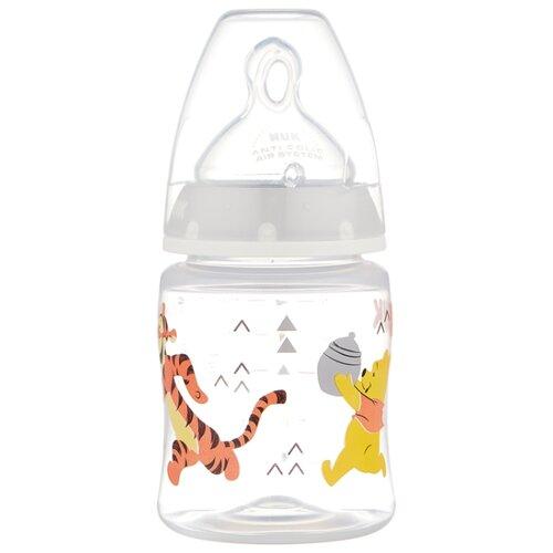 бутылочка для кормления nuk first choice пласт 150 мл с силиконовой насадкой для питья голубая NUK First Choice Plus Disney Winnie the Pooh бутылочка 150 мл с рождения, бесцветный