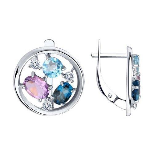 Diamant Серьги из серебра с миксом камней 94-320-00664-1