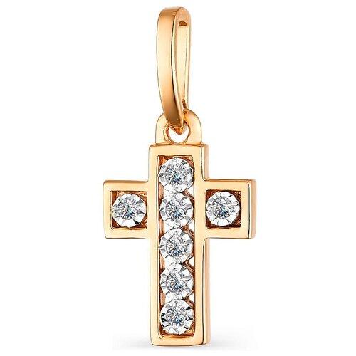 АЛЬКОР Подвеска с 7 бриллиантами из красного золота 33748-100