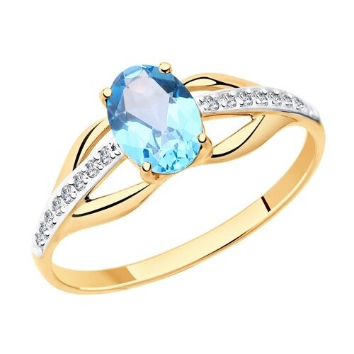 Diamant Кольцо из золота с топазом и фианитами 51-310-00256-1, размер 18 diamant кольцо из золота с хризолитом и фианитами 51 310 00256 3 размер 18